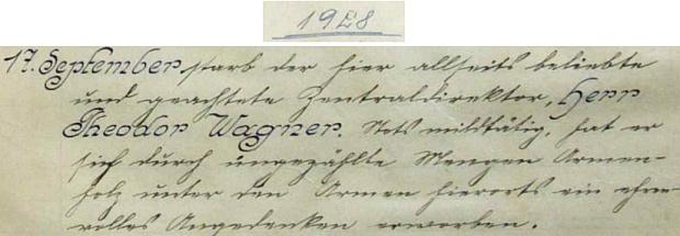 Záznam o jeho úmrtí dne 17. září roku 1928 v německy psané kronice obce Údolí u Nových Hradů (Niederthal bei Gratzen)