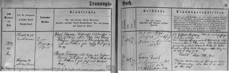 Záznam hořické oddací matriky o jeho svatbě i rozvodu