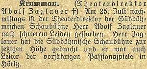 Zpráva o Zoglauerově úmrtí na stránkách českobudějovického německého listu