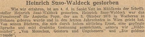 Zpráva o jeho úmrtí ve vídeňských novinách