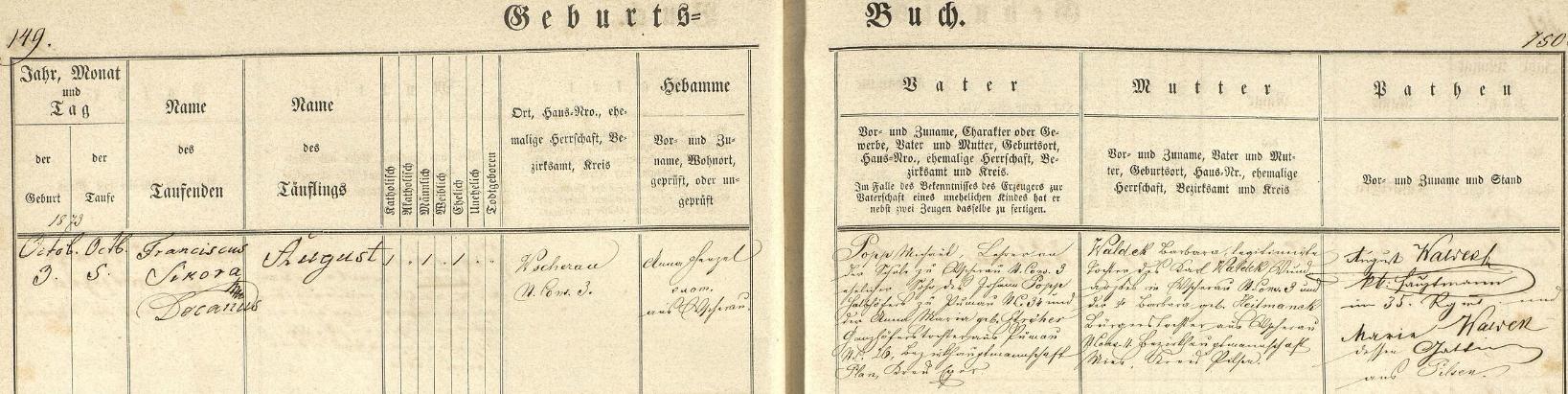 Podle tohoto záznamu z matriky farní obce Všeruby u Plzně narodil se tu 3. října roku 1873 (dva dny nato ho děkan Franz Sikora ve zdejším kostele sv. Martina i pokřtil jménem August Popp) v domě čp. 3 učiteli Michaelu Poppovi (jeho otec Johann Popp byl polodvorníkem /pololáníkem/ v Boněnově /Punnau/ čp. 34, kde hospodařil se svou ženou Annou Marií, roz. Ströherovou, dcerou celoláníka z Boněnova čp. 26) a jeho ženě Barbaře, legitimizované dceři Karla Waldeka, ranhojiče ve Všerubech u Plzně čp. 3, a jeho choti Babrbary, roz. Heitmanekové, měšťanské dcery ze Všerub u Plzně čp. 11 - jako kmotři jsou psáni August Waldek, c.k. hejtman (kapitán) 35. pluku v Plzni a jeho žena Maria Waldeková, rovněž z Plzně