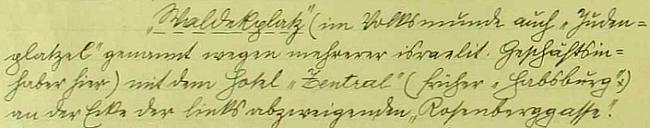 """Josef Rammel zaznamenal ve vimperské pamětní knize, že se Waldekovu náměstí říkalo i """"Judenplatzel"""" pomnoha """"izraelitských majitelích obchodů"""""""