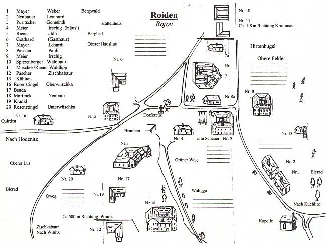 Plánek vsi Rojov se seznamem majitelů jednotlivých usedlostí v roce 1945, doprovázející v krajanském měsíčníku jeho text o ní