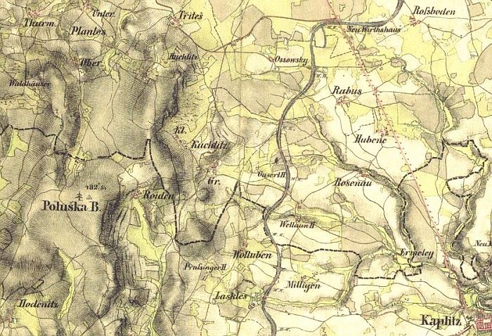 Vrchovina Poluška (Rojov v jejím středu) zachycená druhým vojenským mapováním v 1. polovině 19. století a na mapě panství Český Krumlov, kterou vyhotovil v roce 1829 JosefFalta