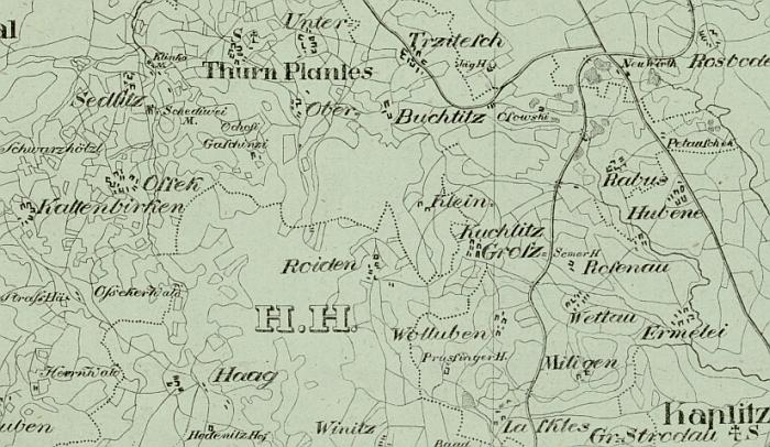 Vrchovina Poluška (Rojov v jejím středu) zachycená druhým vojenským mapováním v 1. polovině 19. století a na mapě panství Český Krumlov, kterou vyhotovil v roce 1829 Josef Falta