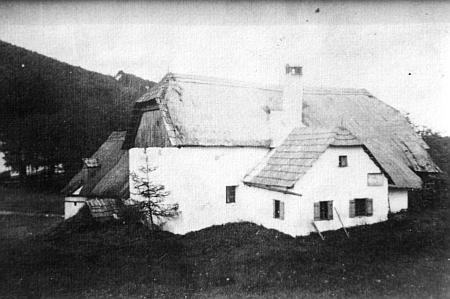Už neexistující budova mlýna zv. Neimühle (Dupsky Mühlberger) v Bočkově