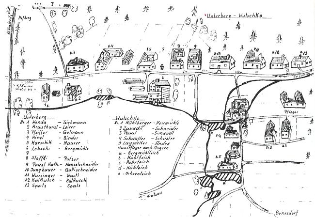 Plánek vsí Unterberg (Střelcův Dvůr) a Bočkov k jeho textu o nich