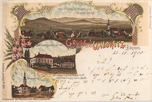 """""""Malovaná"""" pohlednice z Omlenice """"v Čechách"""" je zajímavá výhledem na Novohradské hory"""