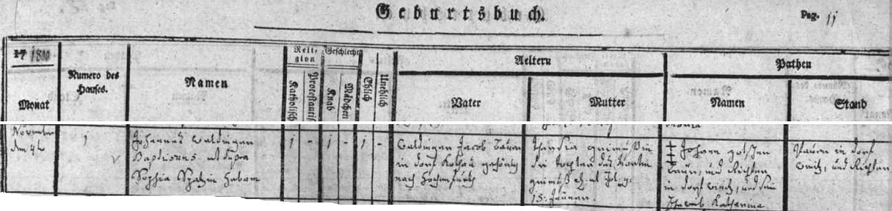 Už v listopadu roku 1800 zaznamenává omlenická matrika narození syna v rodině Jacoba Waldingera v Chudějově čp. 1