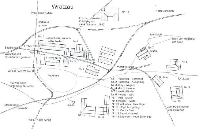 Plánek Vracova, doprovázející Waldingerův text o vsi, sousedící s rodným Chudějovem