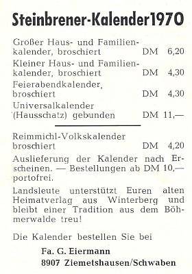 Ještě na rok 1970 nabízel tento inzerát ze Švábska tradiční Steinbrenerovy kalendáře