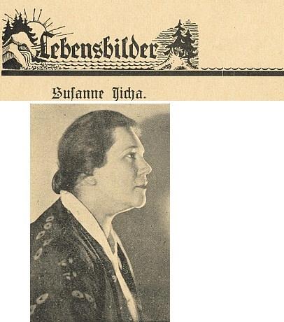 Suzanne Jichaová na snímku, doprovázejícím její medailon od Marie Anny Waldekové