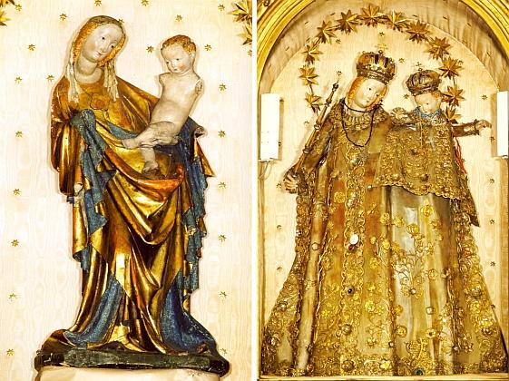 Madona z Vimperka, stojící na hlavním oltáři děkanského kostela