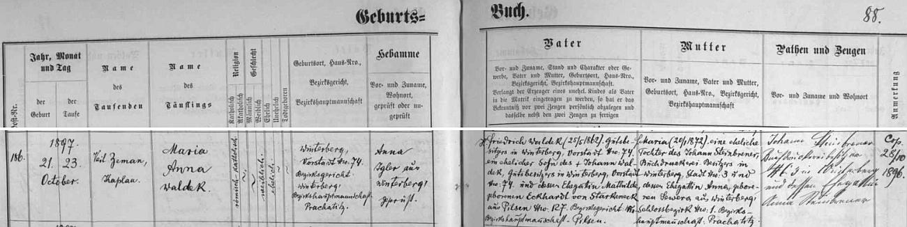 Podle záznamu ve vimperské matrice narodila se na zdejším předměstí čp. 74 Friedrichu a Marii Waldekovým, přičemž jako kmotři dítěte tu v kolonce napravo figurují Johann a Anna Steibrenerovi, tj. matčini rodiše