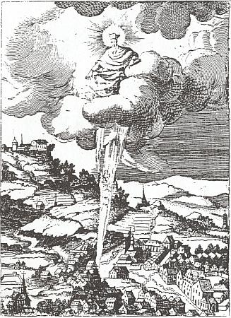 """Svatý Jan nad """"šumavským"""" Nepomukem: světelný paprsek označuje na rytině z roku 1641 podle předlohy Karla Škréty světcův rodný domek"""