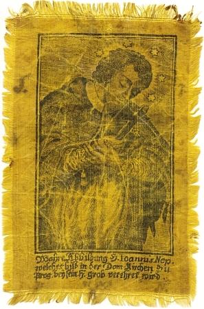 """Věru """"dotýkaná"""" upomínka ze svatojánské slavnosti s """"věrným vyobrazením"""" světcovým, jak praví její německý text"""