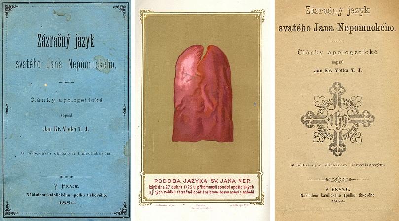 """Obálka, frontispis a titulní list (1884) jedné z mnoha """"obran"""" zemského patrona, zde napsaná v národním duchu českým jezuitou Janem Křtitelem Votkou"""
