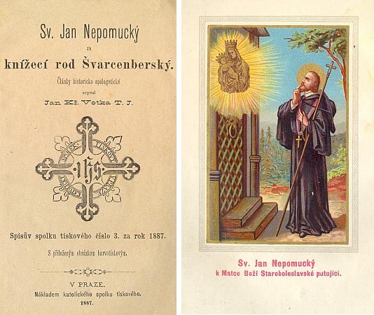 Frontispis a titulní list (1887) jiného Votkova spisu o sv. Janu Nepomuckém, tentokrát o světcově úctě vešlechtickém rodu schwarzenberském