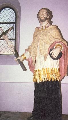Sv. Jan Nepomucký z kostela v obci Bischofsreut blízko české hranice u Českých Žlebů