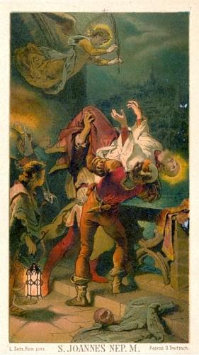 """""""Nepomukova"""" smrt na obraze Ludwiga Seitze (1844-1908), italského malíře německého původu (psal se i Luigi Seitz), zde otištěném na """"svatém obrázku"""""""