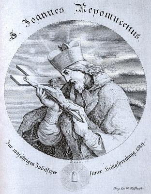 Na rytině ke 100. jubileu svatořečení sv. Jana Nepomuckého, kterou provedl Josef Jan Alois Drda podle kresby Josefa Berglera mladšího