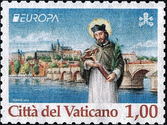 Evropská známka papežského státu s motivem pražského světce z Karlova mostu nad Vltavou
