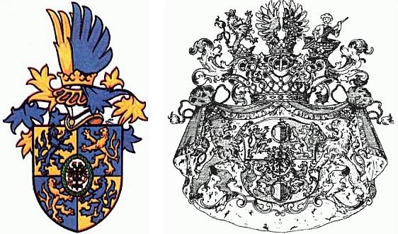 Neúplný (jen valdštejnský) a úplný znak rodu Waldstein-Wartenberg