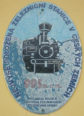 Nádraží v Kubově Huti - nejvýše položená železniční stanice v ČR (995 m nad mořem)