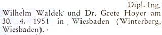 Blahopřání k jeho svatbě ve Wiesbadenu 30. dubna roku 1951 na stránkách krajanského měsíčníku