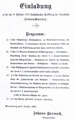 """Pozvánka (1893) ke slavnostnímu zahájení provozu """"lokální dráhy"""" Strakonice-Vimperk"""