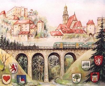 """28. března 2009 převzalo v Radničním sále města Prachatice Cenu naděje a porozumění za rok 2008 i bavorské občanské sdružení """"Förderverein Ilztalbahn"""", které usiluje o obnovu železničního spojení Prachatic s Pasovem - obrázek zachycuje vlak s označením """"Ilztalbahn"""" na viaduktu u Klášterce, dnes části Vimperka, dále veduty Vimperka a Prachatic a zleva znaky znaky Röhrnbachu, Pasova, Waldkirchenu, Freyungu, Volar, Vimperka aPrachatic"""