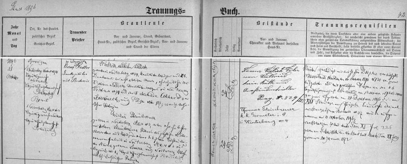 Záznam ve vimperské matrice o zdejší svatbě jeho rodičů 28. října roku 1896 - ženich Friedrich Wilhelm Waldek, majitel realit a c.k. poručík mimo aktivní službu, byl synem Johanna Waldeka, zdejšího majitele realit, bytem Vimperk předměstí čp. 74,  a jeho ženy Mathilde, roz. Eckhardtové von Starkeneck z Plzně, nevěsta Maria byla dcerou majitele tiskáren ve Vimperku Johanna Steinbrennera a jeho ženy Anny, roz. Sewerové rovněž z Vimperka