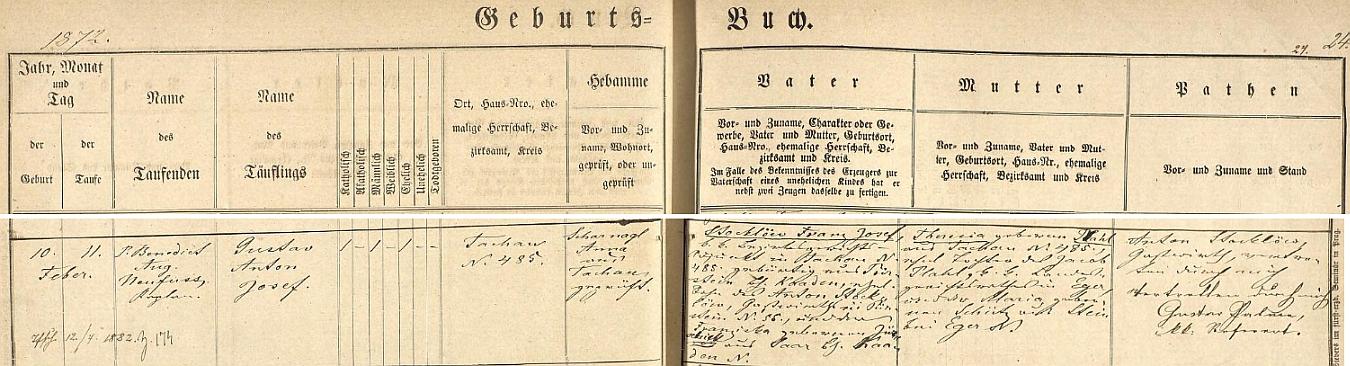 """Záznam tachovské matriky vypovídá jasně o existenci jeho prvorozeného třetího syna, kupodivu neuvedeného ve vyšebrodském """"rodovém katastru"""", pokřtěného 11. února 1872 den poté, co přišel v Tachově čp. 485 na svět, jménem Gustav Anton Josef Stocklöw (až později přijal jako vyšebrodský cisterciák řádové jméno Odilo)) - chlapcův otec je tu psán plným jménem Franz Josef Stocklöw jako syn hostinského v Perštejně (Pürstein) Antona Stocklöwa aFranzisky, roz. """"Jürschick""""(!) ze Žďáru (Saar), matka dítěte Theresia, roz. Plahlová, byla pak dcerou zemského soudního rady v Chebu (Eger) Jacoba Plahla a jeho ženy Marie, roz. Schützové ze Skalky u Chebu (Stein bei Eger) - kmotra a děda novorozencova Antona Stocklöwa zastoupil tu podepsaný """"c.k. referent"""" Gustav Palme"""