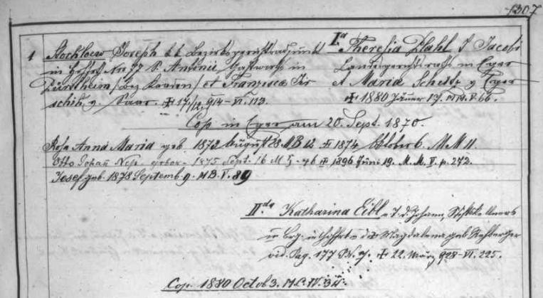 """Podle tohoto záznamu v """"rodovém katastru"""" (matričním indexu) farní obce Vyšší Brod byl Joseph Stockloew, takto zde psaný, synem Antona Stockloewa, hostinského v Perštejně (psaném tu Pürstheim), tehdy okr. Kadaň (Kaaden), aFranzisky, roz. Jirschikové ze Žďáru (Saar), tehdy rovněž okr. Kadaň, a byl po dvakráte ženat: z prvního manželství, uzavřeného 20. září 1870 s Theresií Plahlovou, dcerou Jacoba Plahla z Chebu z Chebu (Eger), zesnulou dne 17. ledna 1880, měl dceru Rosu Annu Marii, narozenou 28. srpna 1873 a zemřelou 6. října následujícího roku 1874, po ní pak dva syny: ten prvý zobou Otto Johann Nepomuk se narodil 16. září 1875 a skonal 19. června 1896, druhý Josef spatřil světlo světa 9.září 1878 - to následné ze Stocklöwových manželství, uzavřené 3. října 1880 sKatharinou Eiblovou, dcerou vyšebrodského klášterního sklepníka Johanna Eibla a Magdaleny, roz. Rehbergerové, zůstalo bezdětné a Stocklöwova vdova zemřela až více než 13 let po svém muži 22. března roku 1928"""