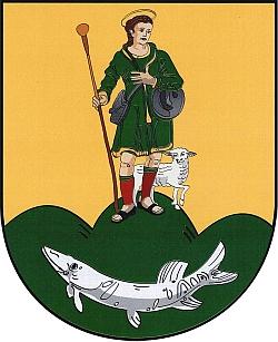 Znaku rodné obce Perštejn vévodí rovněž sv.Vendelín, patron zdejšího kostela