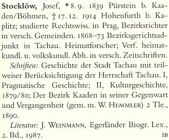 Heslo Josefa Stocklöwa v německém literárním lexikonu (2000) kupodivu jeho pseudonym neuvádí