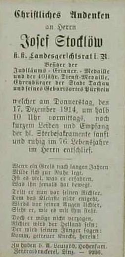 Úmrtní lístek z prosince 1914, vlepený při jeho úvodním textu kroniky obce Vyšší Brod, je poctou člověku, který stál usamého zrodu zdejší novější historiografie