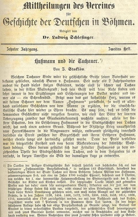 Úvod jeho článku o baronu von Hußmann, postavě z dějin města Tachova i místních pověstí
