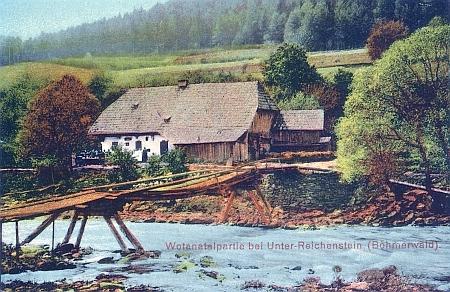 I Wunderbach, usedlost na levém břehu Otavy, měl svou barevnou pohlednici