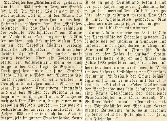 Nekrolog z roku 1953 na stránkách krajanského měsíčníku