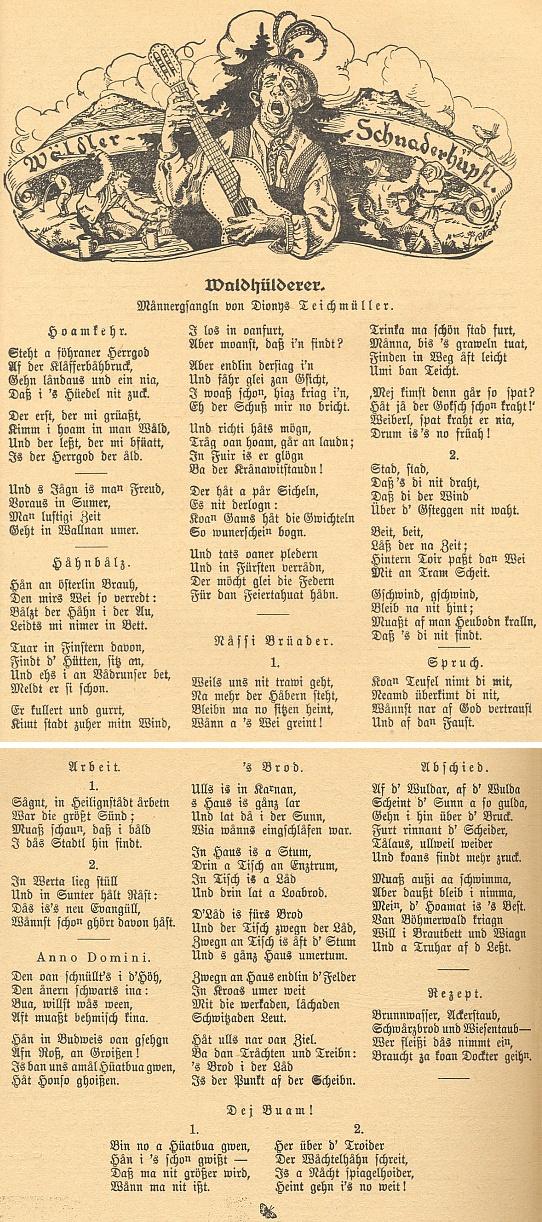 """Několik jeho nářečních popěvků, zveřejněných v šumavském kalendáři s titulní kresbou Reinholda Koeppela pod pseudonymem Dionys Teichmüller, dvě šestiverší s názvem """"Abschied"""" se později proslavila jako vyhnanecká Píseň oVltavě (Moldaulied), zhudebněná Aloisem Ernstem Milzem"""