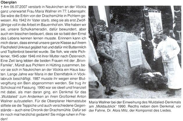 Nekrolog jeho vnučky Marie Wallnerové na stránkách krajanského měsíčníku s dalším záběrem odhalení památníku