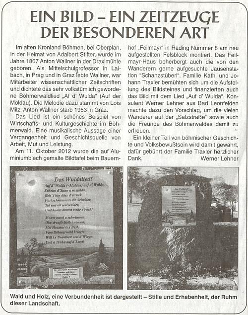 Připomínka jeho písně o Vltavě v příhraniční rakouské vsi Rading při zaniklém Radvanově, nejjižnějším bodu České republiky, na stránkách krajanského listu v podání Wernera Lehnera