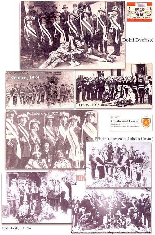 Historické snímky některých jihočeských lokalit s výskytem mečových tanců doprovázejí článek Marcely Mackové o tomto fenoménu s bohatými odkazy na Kohoutí kříž