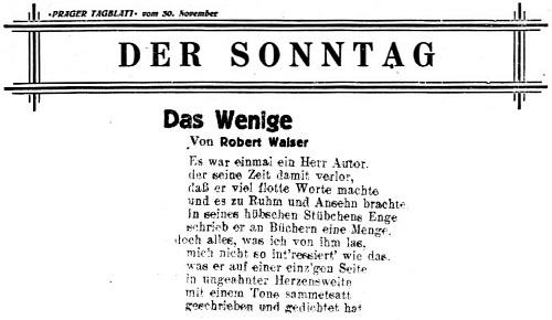 To už byl v léčebně pro duševně choré ve Waldau, když literární příloha listu Prager Tagblatt přinesla jeho báseň na svých stránkách