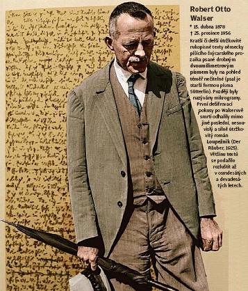 Koláž s jeho portrétem a ukázkou jeho šifrovaného textu