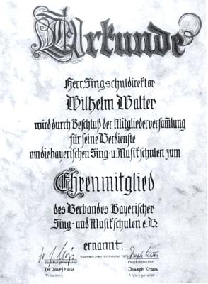 Listina o čestném členství jeho bratra Wilhelma ve sdružení bavorských hudebních škol