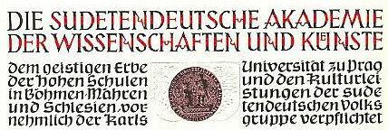 Záhlaví jeho diplomu řádného člena Sudetoněmecké akademie věd a umění