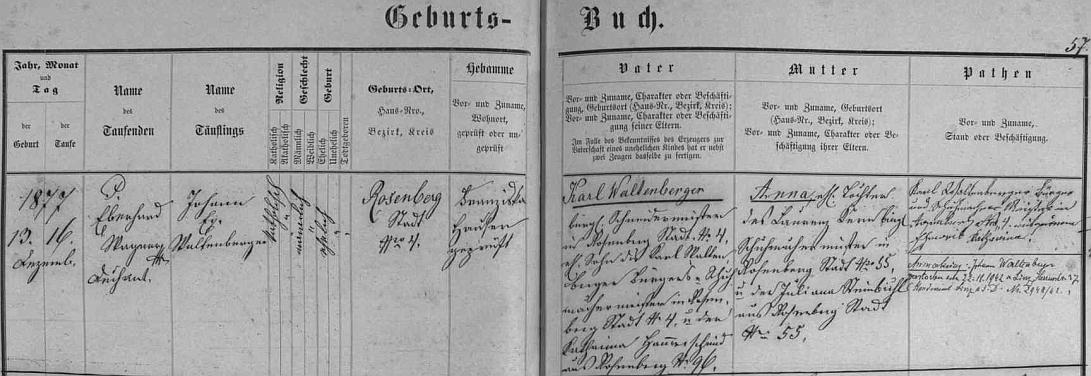 Záznam v křestní matrice města Rožmberk nad Vltavou dokládá, že se tu narodil 13. prosince roku 1877 (tři dny nato byl i pokřtěn jménem Johann Evangelist Waltenberger) v domě čp. 4 zdejšímu mistru krejčovskému Karlu Waltenbergerovi (jeho otec Karl Waltenberger byl v Rožmberku nad Vltavou ševcem, matka Katharina, roz. Hammerschiedová, pocházela rovněž odtud) a jeho ženě Anně, roz. Krumbieglové, dceři zdejšího ševce Laurenze Krumbiegla a Juliany, roz. Steinbichlové, také odtud z Rožmberka nad Vltavou