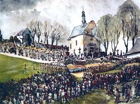 Obraz Rudolfa Stubnera, jehož originál měl viset ve volarské rodácké jizbě v bavorském Waldkirchenu, zachytil pohřeb 96 obětí pochodu smrti s Američany nařízenou účastí všech místních